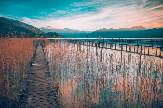Lake view to the alps - Fineart photography by Franz Sussbauer