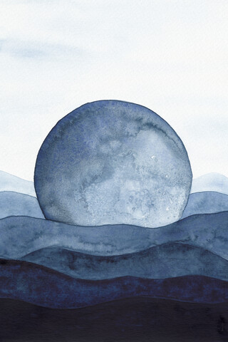 Moon Landscape | Watercolor Painting - Fineart photography by Cristina Chivu