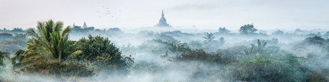 Morning fog over Bagan - Fineart photography by Jan Becke
