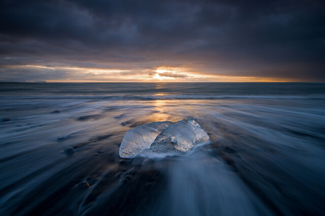 Glacier ice at Diamonds Beach in Iceland - Fineart photography by Franz Sussbauer