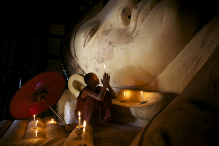 Christina Feldt, Praying monk in Bagan, Myanmar (Myanmar, Asia)
