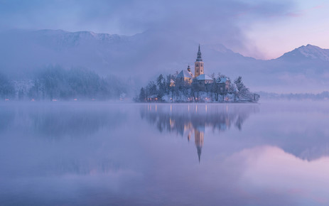 Aleš Krivec, Lake Bled on a winter morning (Slovenia, Europe)