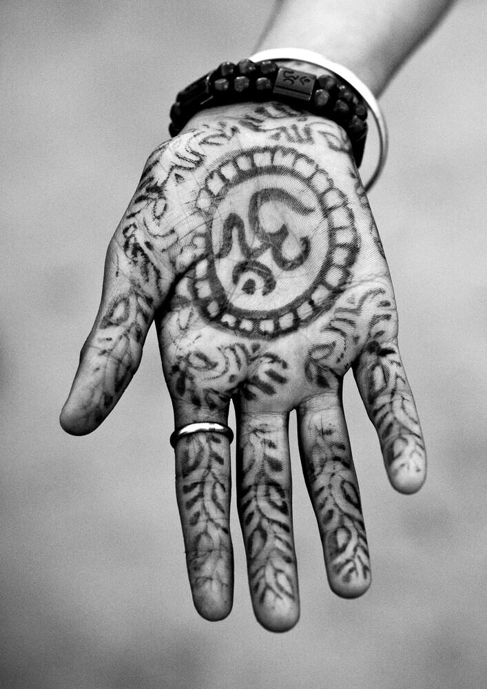Hinduism Symbol On A Hand, Maha Kumbh Mela, Allahabad, India - Fineart photography by Eric Lafforgue