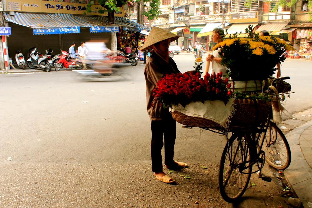 Flower seller in Hanoi - fotokunst von Marisa Pettit