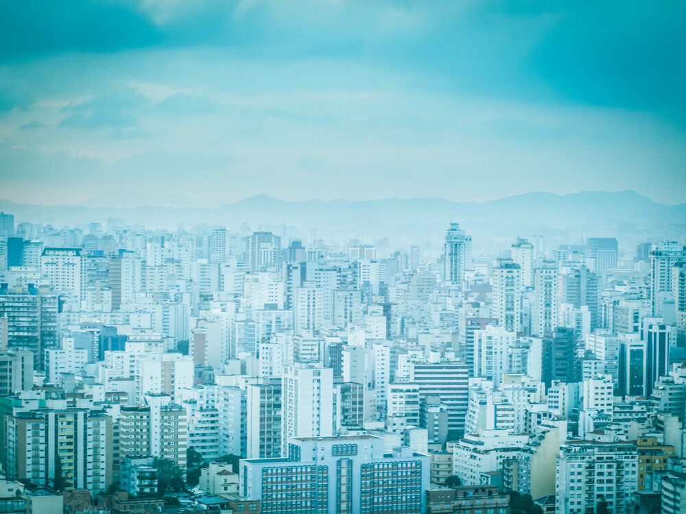 City in Blue 4 | Fotokunst von Johann Oswald