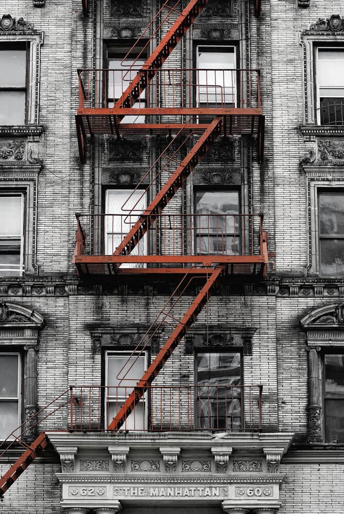 Red fire stair, Manhattan - Fineart photography by Franzel Drepper