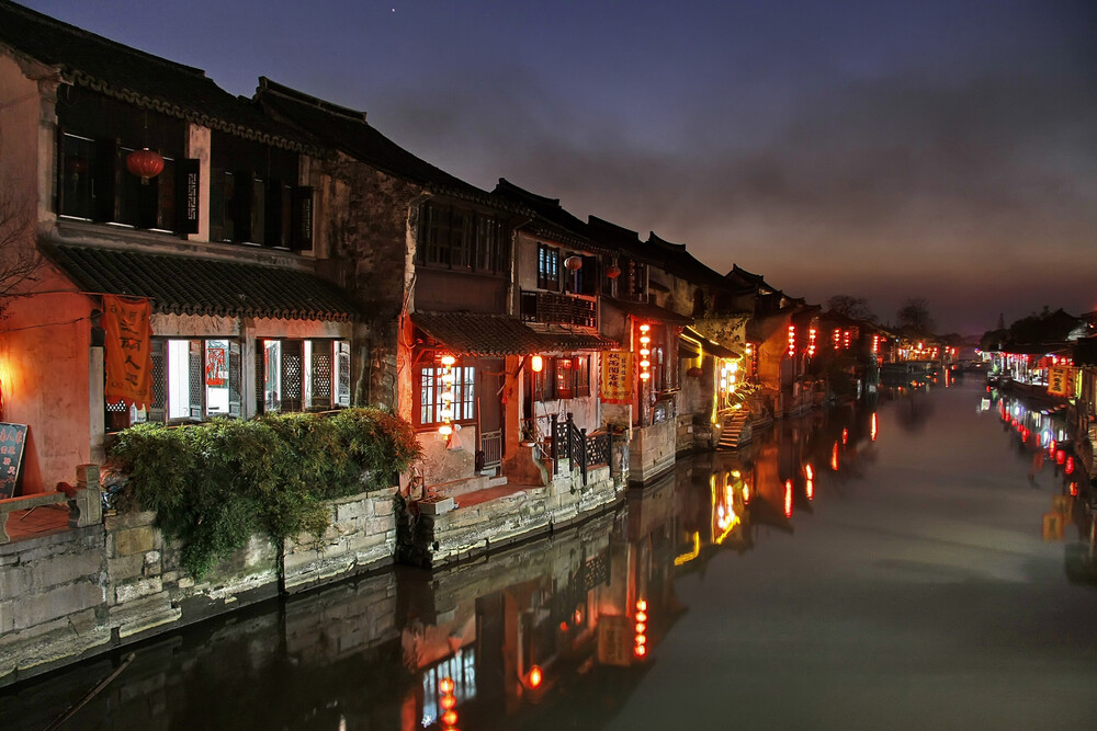 Xitang Water Village at Night - Fineart photography by Rob Smith