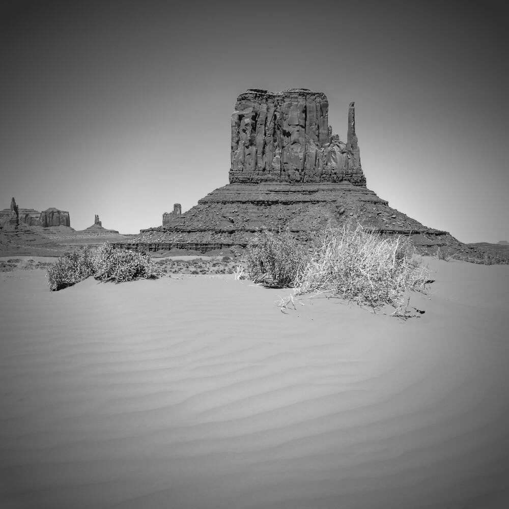 MONUMENT VALLEY West Mitten Butte schwarz-weiß - fotokunst von Melanie Viola
