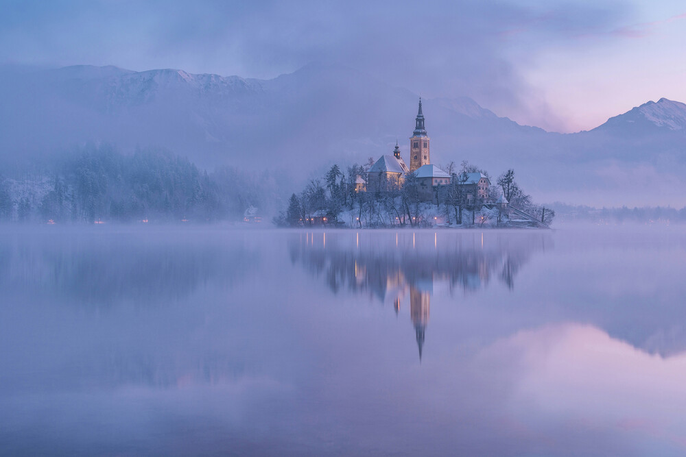 Lake Bled on a winter morning - Fineart photography by Aleš Krivec