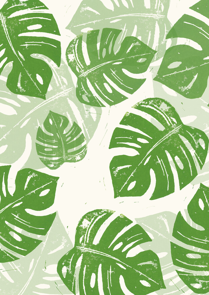 Linocut Monstera Deliciosa - Fineart photography by Bianca Green