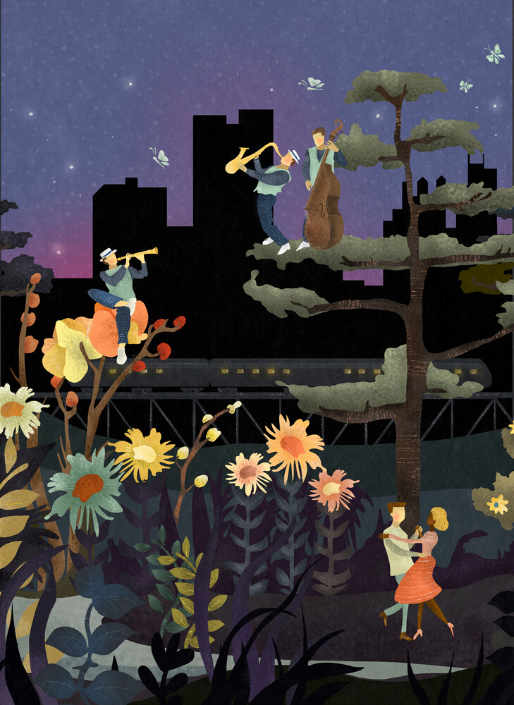 MUSIC UNDER THE STARS - fotokunst von Amalia Restrepo