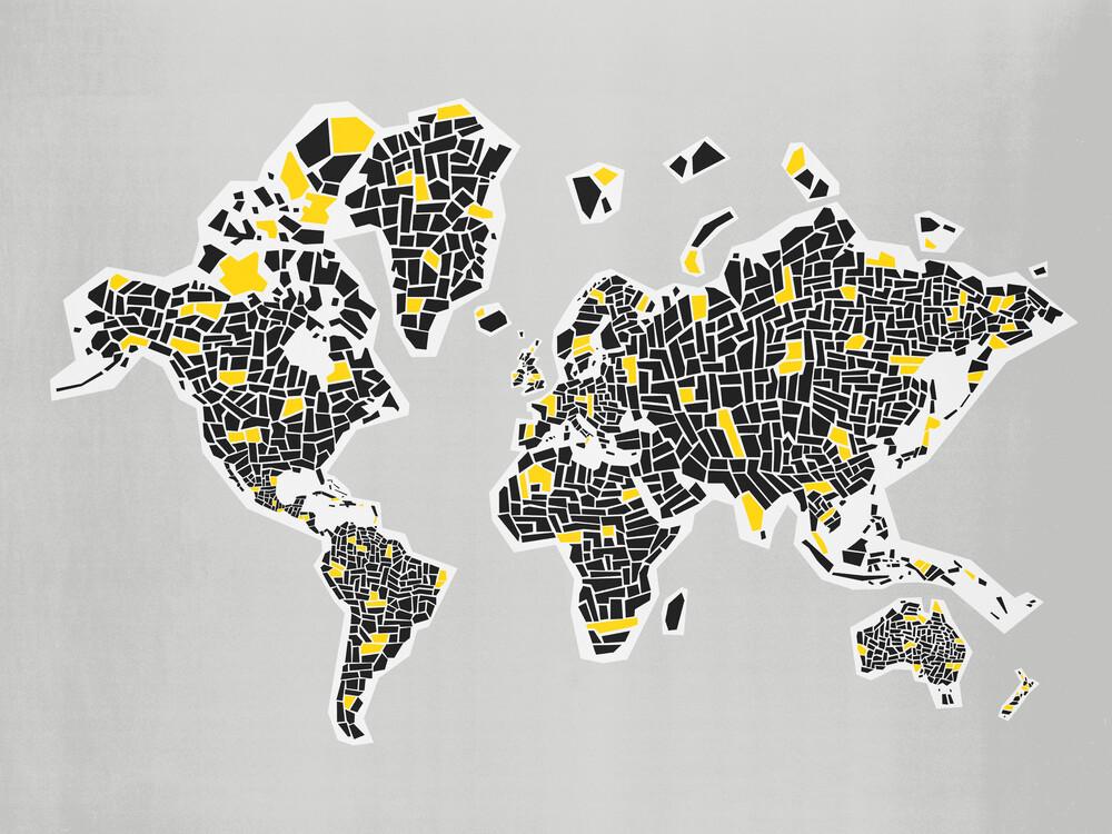 Abstract World Map - fotokunst von Fox And Velvet