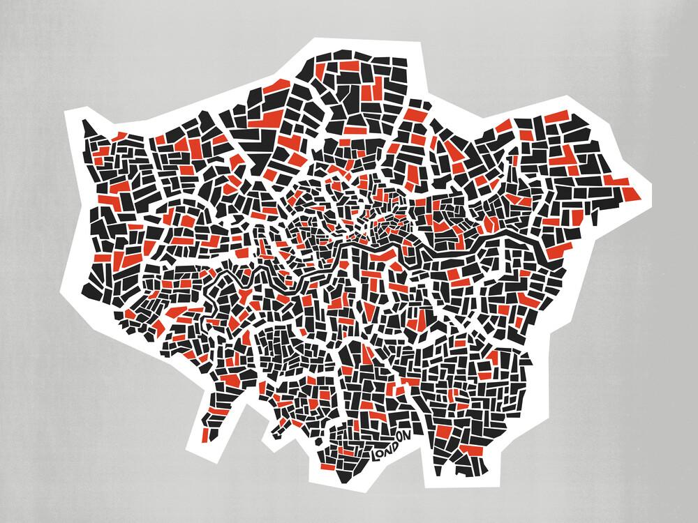 Abstract London Borough Map - fotokunst von Fox And Velvet
