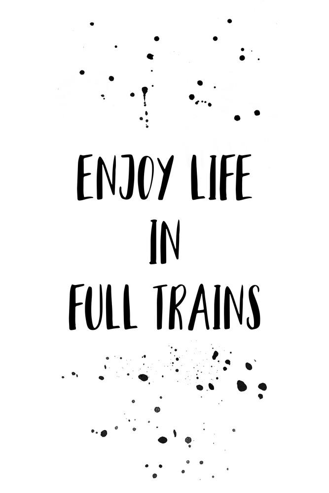 Denglisch ENJOY LIFE IN FULL TRAINS - fotokunst von Melanie Viola