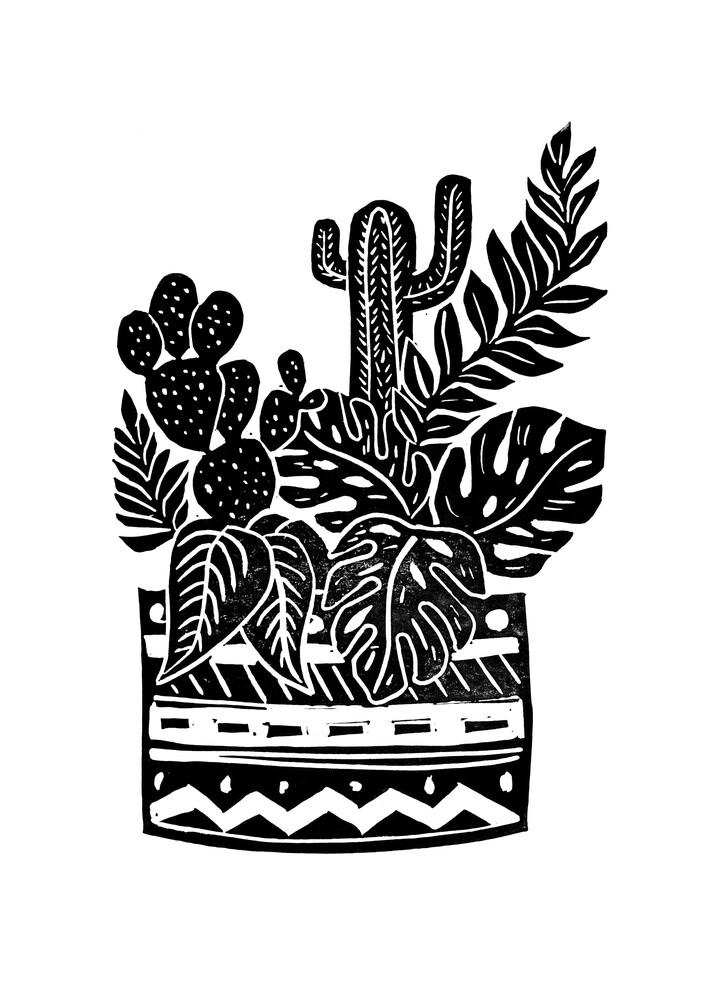 Botanischer Topf Block Print - fotokunst von Bianca Green