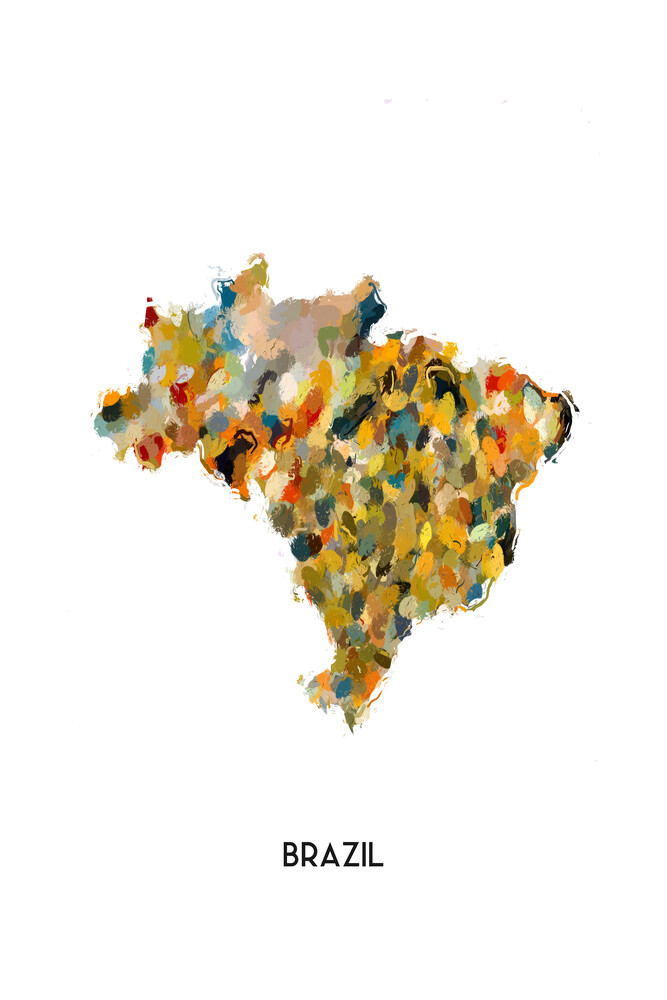 Map of Brazil - fotokunst von Karl Johansson