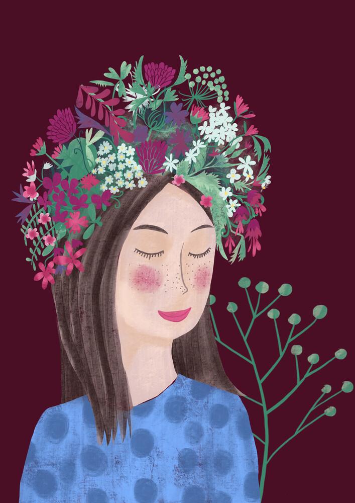 Frau mit Blumenhaar - fotokunst von Constanze Guhr