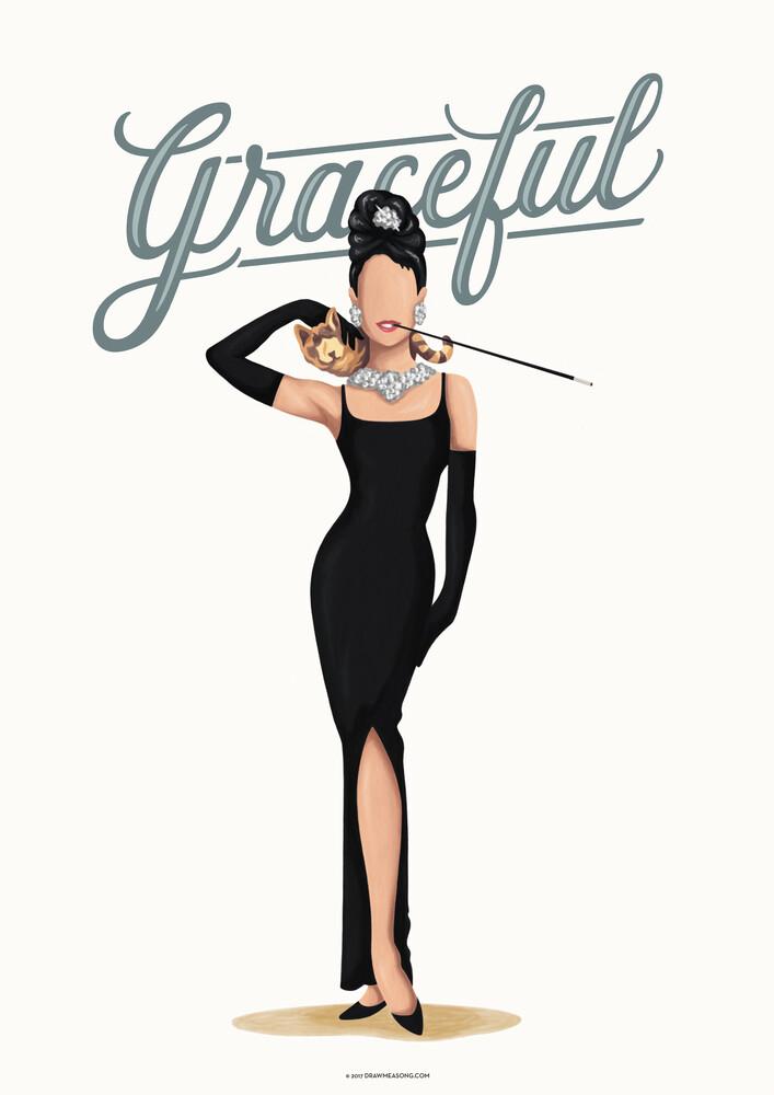 Audrey Hepburn Graceful - fotokunst von Draw Me A Song - Reviews