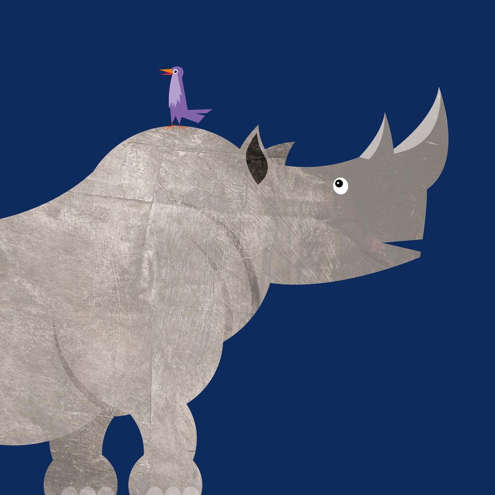 Kinderzimmer-Nashorn – Illustration für Kinder - fotokunst von Pia Kolle