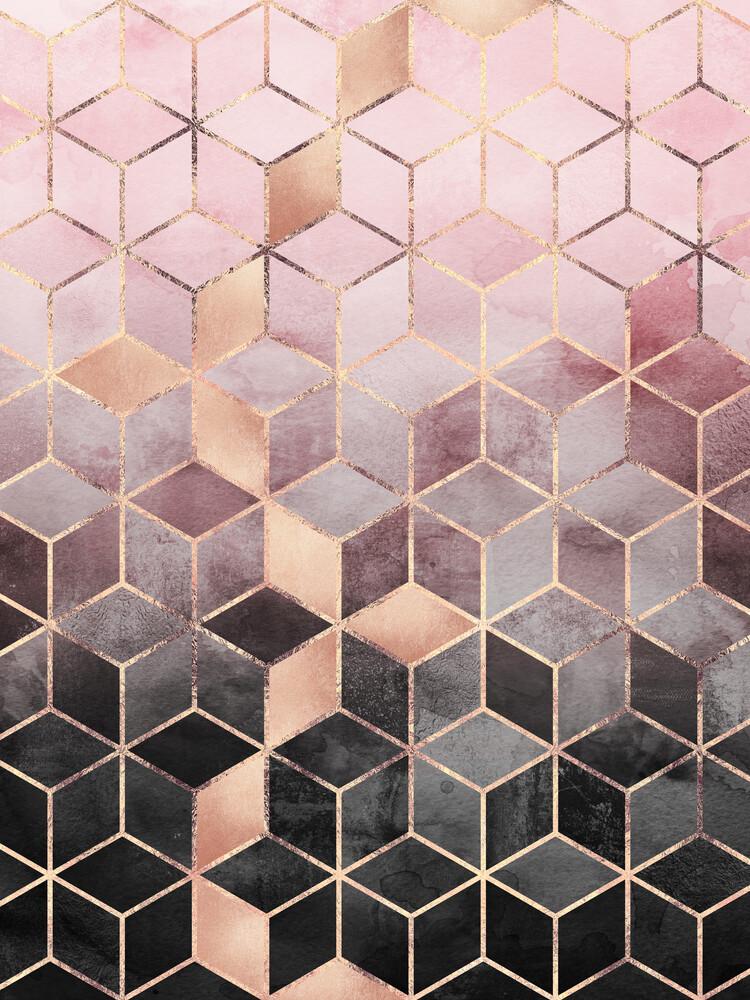 Pink Grey Gradient Cubes - fotokunst von Elisabeth Fredriksson
