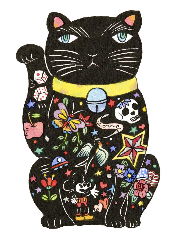 Maneki Cat - Black 1 - fotokunst von Rumi Hara