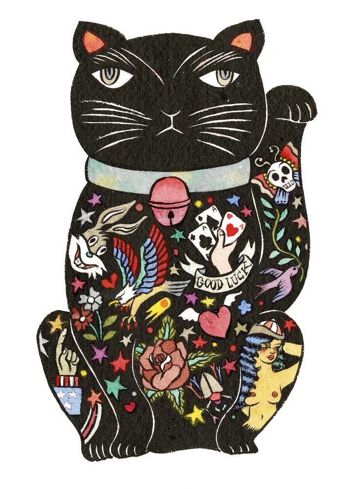 Maneki Cat - Black 2 - fotokunst von Rumi Hara