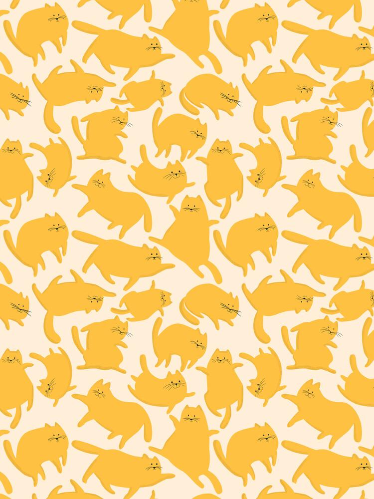 Yellow Cats Pattern - fotokunst von Ania Więcław
