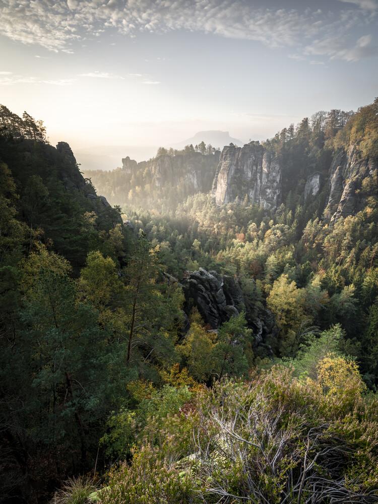 Basteiaussicht am Morgen Elbsandsteingebirge - Fineart photography by Ronny Behnert