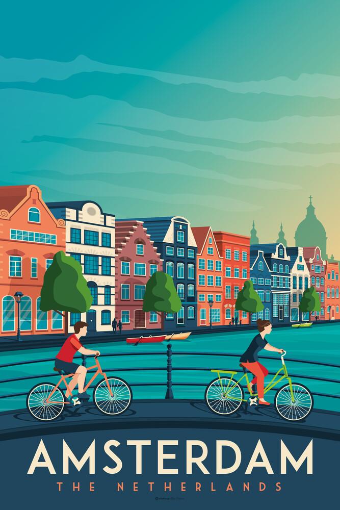Amsterdam Vintage Travel Wandbild - fotokunst von François Beutier
