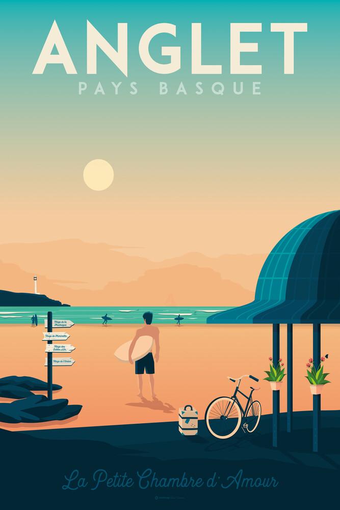 Anglet Baskenland Vintage Travel Wandbild - fotokunst von François Beutier