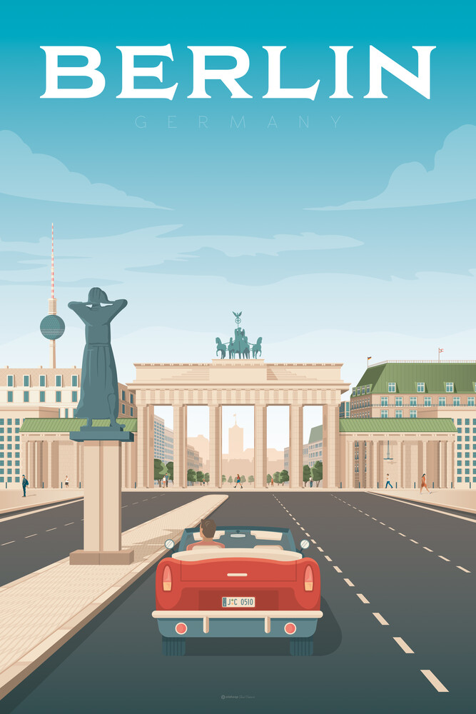 Berlin Vintage Travel Art - fotokunst von François Beutier