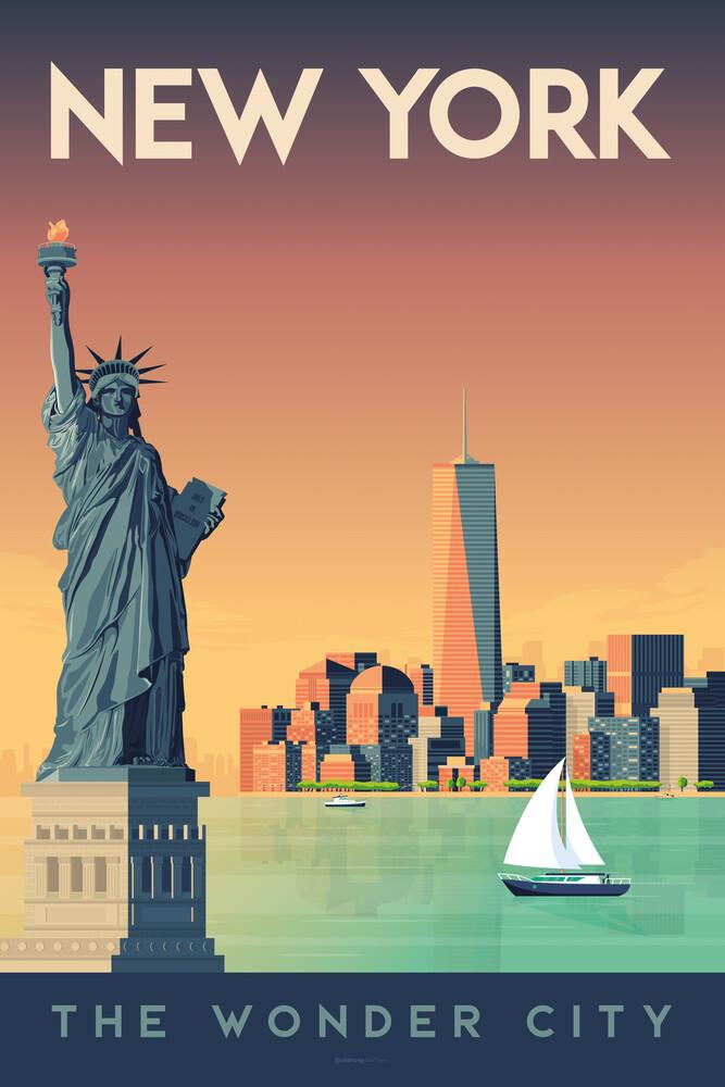 New York Vintage Travel Wandbild - fotokunst von François Beutier
