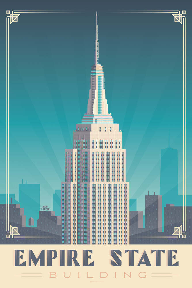 Empire State Building New York Vintage Travel Wandbild - fotokunst von François Beutier