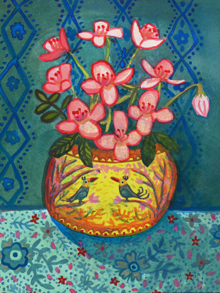 Yellow Mellow Flower Vase - fotokunst von Anita Letuve