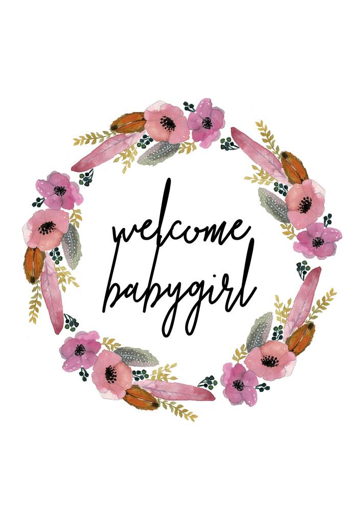 Kinderbild Welcome Babygirl Blumenkranz - fotokunst von Christina Wolff