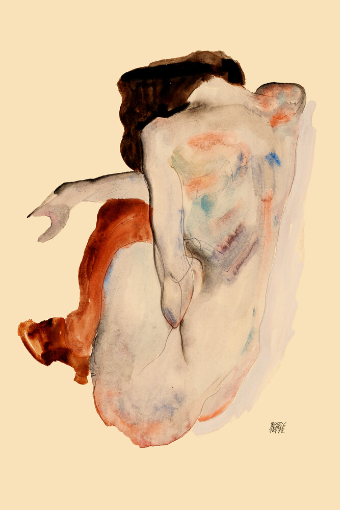 Egon Schiele: Crouching Nude in Shoes and Black Stockings - Fineart photography by Art Classics