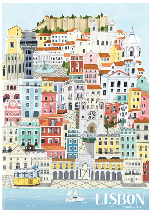 Lisbon Map - Fineart photography by Kaitlin Mechan
