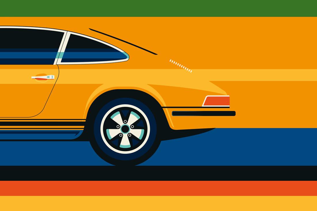 Yellow vintage sports car #2 - fotokunst von Bo Lundberg