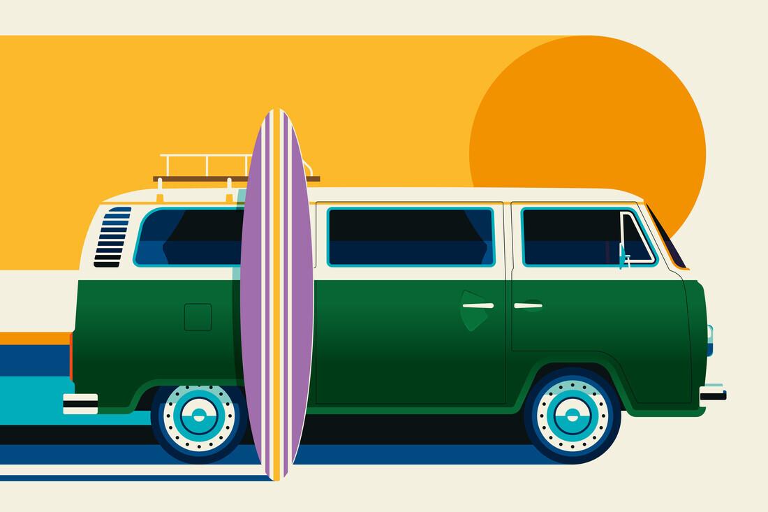 Vintage Surfer Van - Fineart photography by Bo Lundberg
