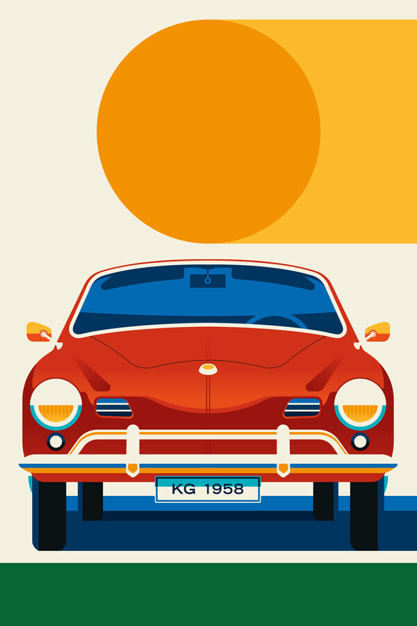 Vintage Sports Car Red With Orange Sun - Fineart photography by Bo Lundberg
