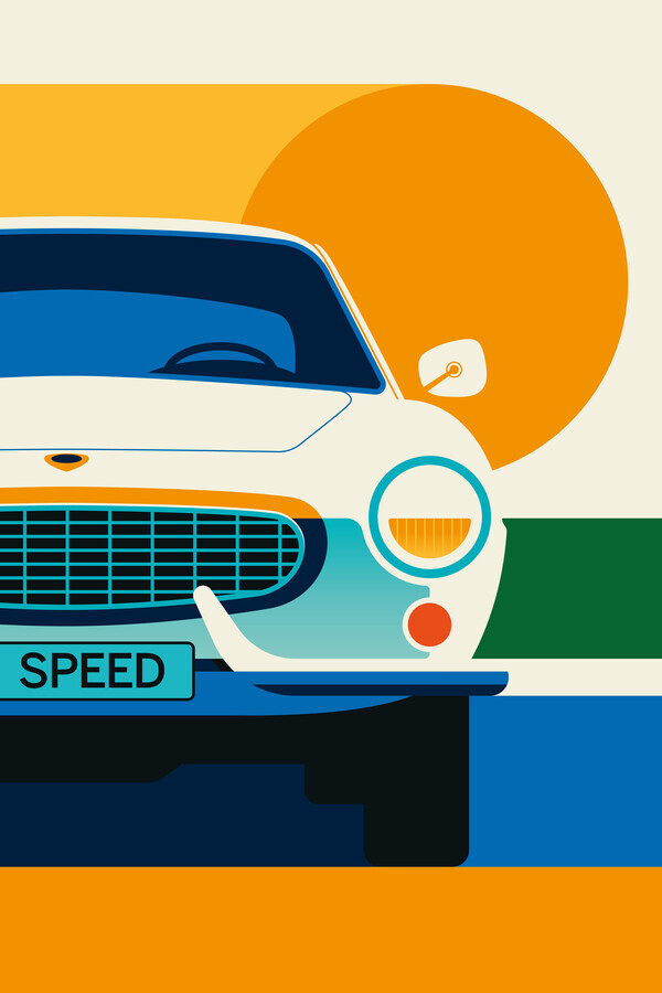 Vintage Sports Car Orange White - Fineart photography by Bo Lundberg