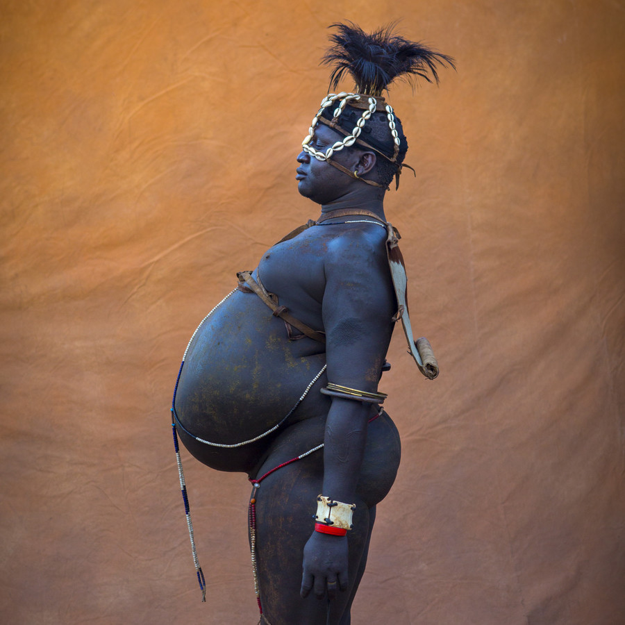 Bodi fat man Omo valley Ethiopia - Fineart photography by Eric Lafforgue