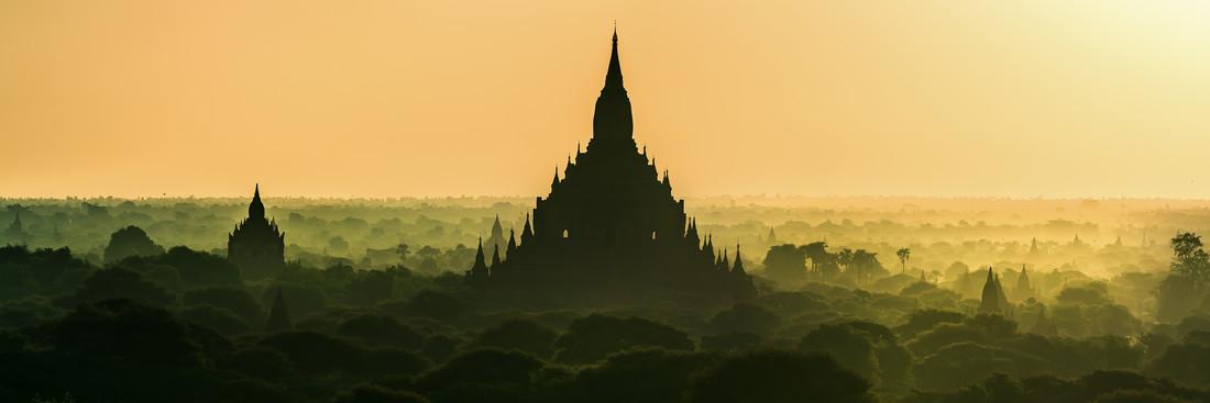 Burma - Bagan at Sunrise | Panorama - Fineart photography by Jean Claude Castor