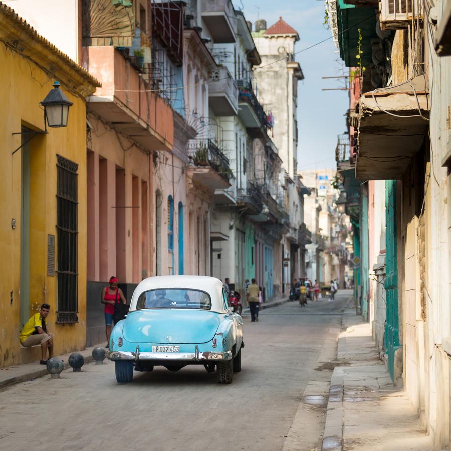 Blue car in Havana - Fineart photography by Eva Stadler