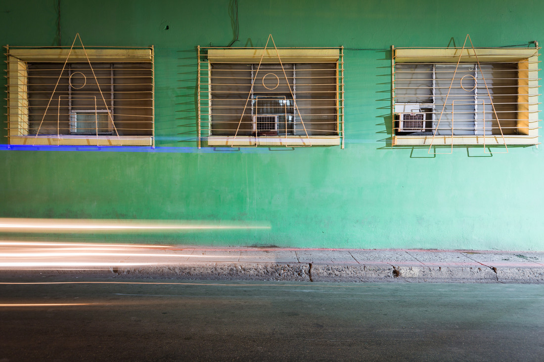 Green facade and headlights - Fineart photography by Eva Stadler