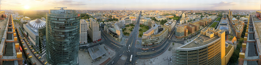 Potsdam Platz Berlin Sunset Panorama - Fineart photography by André Stiebitz