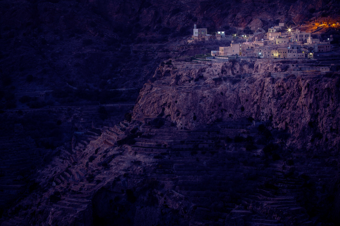 Oman: Terraced fields in blue hour - fotokunst von Eva Stadler