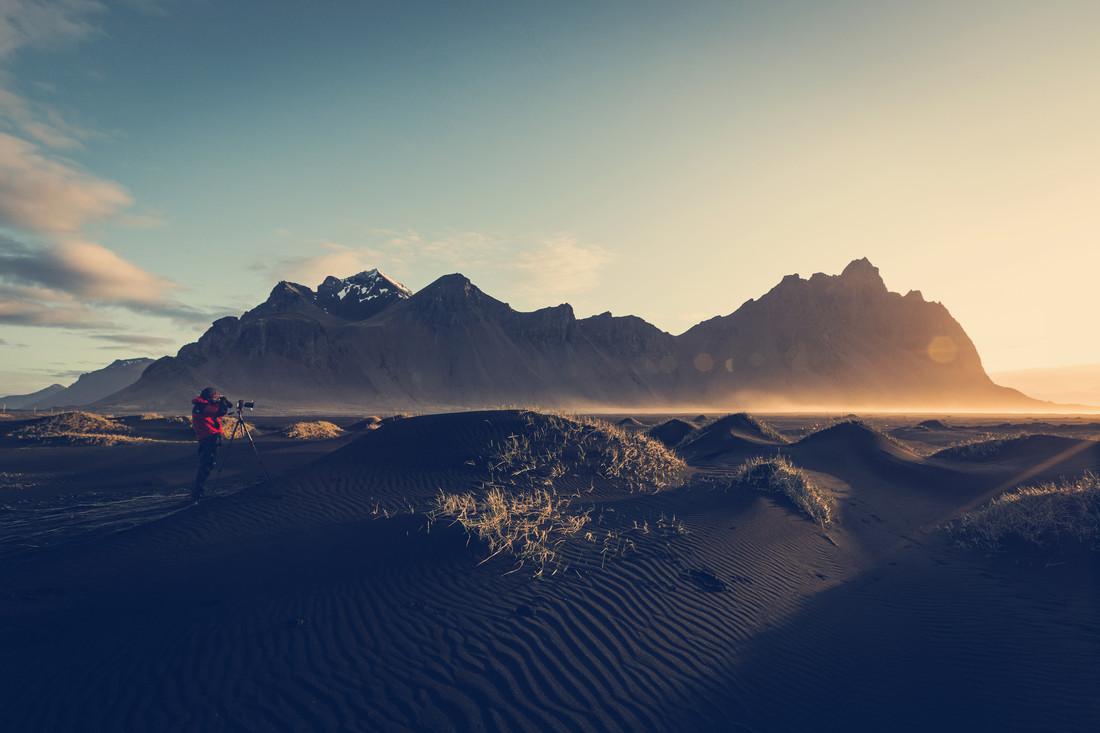 Black sand dunes touched by first ray of light. - Fineart photography by Franz Sussbauer
