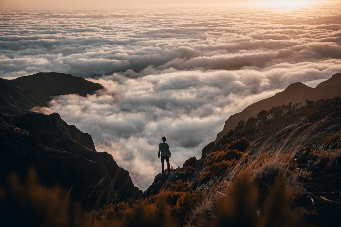Wanderer above the sea of fog. - Fineart photography by Johannes Hulsch