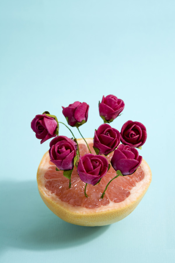 Grapefruit and red roses - Fineart photography by Loulou von Glup